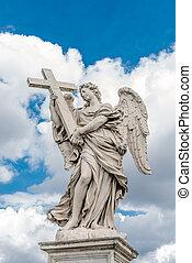 святой, ангел, with, , пересекать, в, мост, святой, angelo, рим, италия