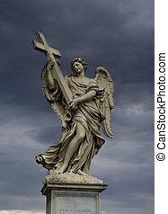 святой, ангел, with, , пересекать, рим