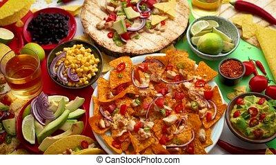 сделал, мексиканский, красочный, помещенный, foods,...