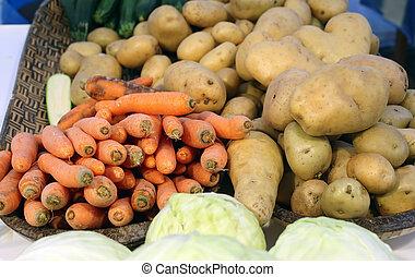 сезонная, сад, просто, farmer's, vegetables, коллекция