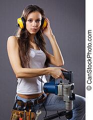 сексуальный, женщина, строительство, работник, молодой
