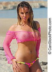 сексуальный, пляж, девушка