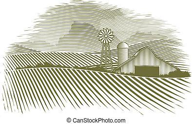 сельская местность, гравюра на дереве