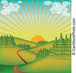сельская местность, милый, долина, -, иллюстрация