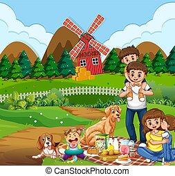 сельская местность, пикник, семья