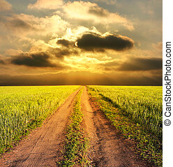 сельский, вечер, дорога, пейзаж