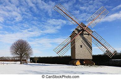 сельский, зима, пейзаж