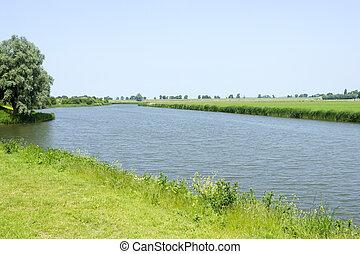 сельский, река, пейзаж, голландский