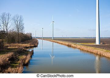 сельский, windturbines, пейзаж, голландский