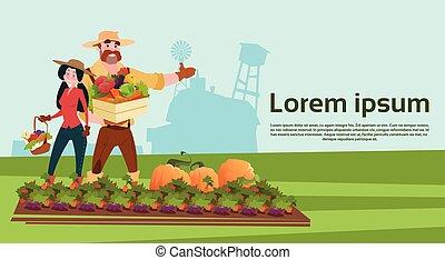 сельхозугодий, семья, farmers, сельская местность, vegetables, выращивание, пейзаж