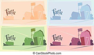 сельхозугодий, силуэт, ферма, дом, сельская местность, пейзаж