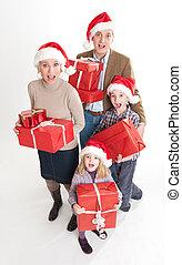 семья, в, рождество