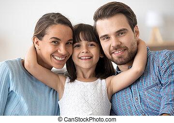 семья, ищу, камера, posing, портрет, счастливый