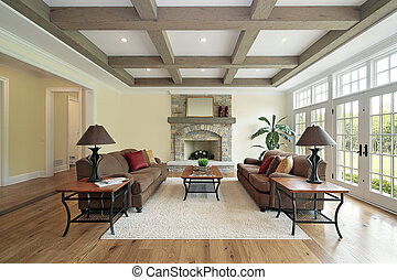 семья, комната, with, дерево, потолок, beams