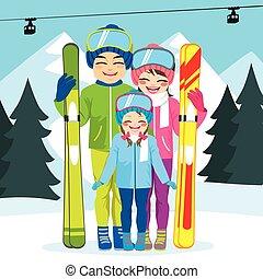 семья, лыжа, зима, отпуск