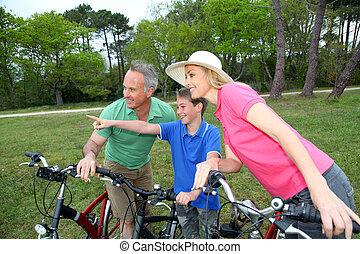 семья, на, байк, поездка, постоянный, от, , озеро