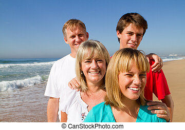 семья, на, пляж