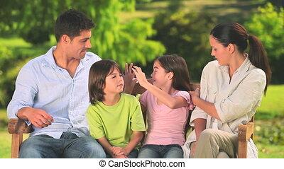 семья, парк, счастливый