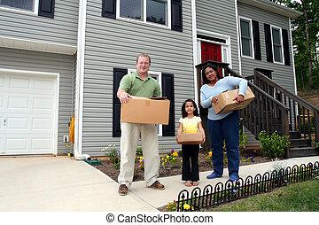 семья, перемещение, into, новый, дом