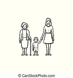 семья, поколение, рука, вничью, эскиз, icon.