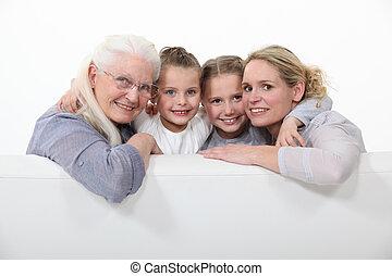 семья, портрет, of, три, поколения