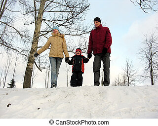 семья, of, три