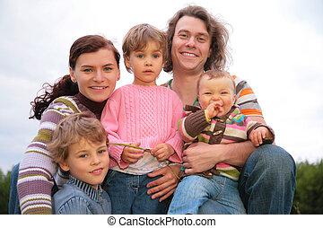 семья, of, 5, портрет, на, природа