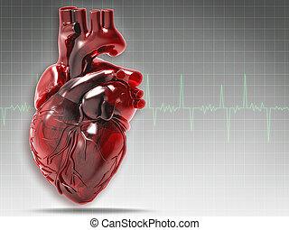 сердце, абстрактные, backgrounds, здоровье, человек, ...