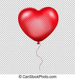 сердце, воздушный шар, красный