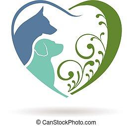 сердце, графический, люблю, собака, вектор, дизайн, logo.