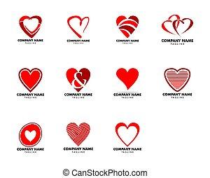 сердце, задавать, люблю, иллюстрация, вектор, логотип