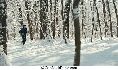 сердце, зима, смотреть, молодой, снег, бег, трекер, лес, covered, умная, или, дорога, человек
