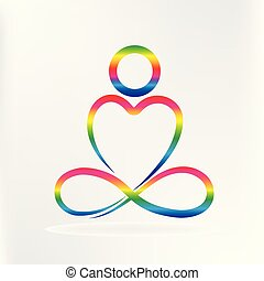 сердце, йога, форма, логотип, люблю, человек