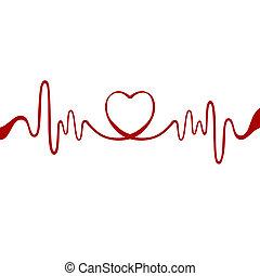 сердце, красный, лента