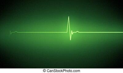 сердце, линия, зеленый, монитор