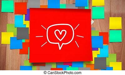 сердце, лист, липкий, значок, речь, белый, бумага, красный, ...
