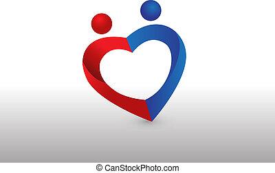 сердце, люблю, пара, форма, логотип, образ