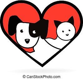 сердце, люблю, собака, кот, форма, логотип
