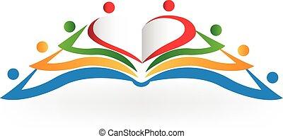 сердце, люблю, форма, книга, командная работа, логотип