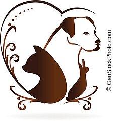 сердце, люблю, swirly, марочный, собака, кот, кролик, логотип, птица