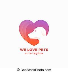 сердце, мы, или, люблю, пространство, просто, лицо, абстрактные, современное, знак, shape., отрицательный, вектор, дизайн, собака, pets, логотип, символ, concept., template.