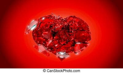 сердце, над, взрыв, loopable, красный