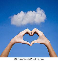 сердце, натуральный, forming, задний план, руки, clasped