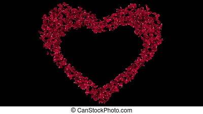 сердце, цветок, роза, форма, petals, штейн, sakura, альфа, 4k, заполнитель, петля, красный