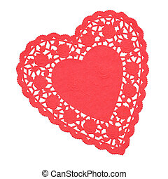 сердце, doilie, красный