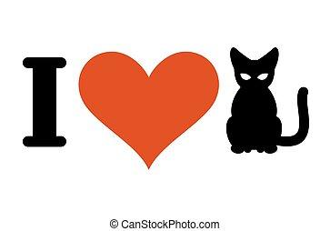 сердце, lovers, люблю, cats., животное, владелец, логотип, pets.