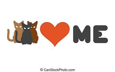 сердце, lovers, люблю, me., cats, животное, владелец, логотип, pets.