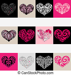 сердце, set., love., иллюстрация, background., вектор