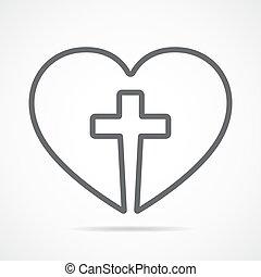 сердце, with, кристиан, пересекать, внутри, illustration.