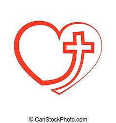 сердце, with, кристиан, cross., вектор, illustration.